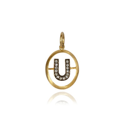18ct Gold Diamond Initial U Pendant