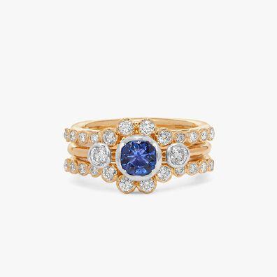 18ct Gold Tanzanite & Diamond Engagement Jacket Ring
