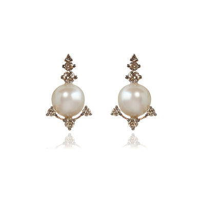 Diamonds & Pearls 18ct Rose Gold Studs
