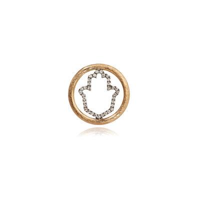 18ct Gold Diamond Hand of Fatima Hoopla