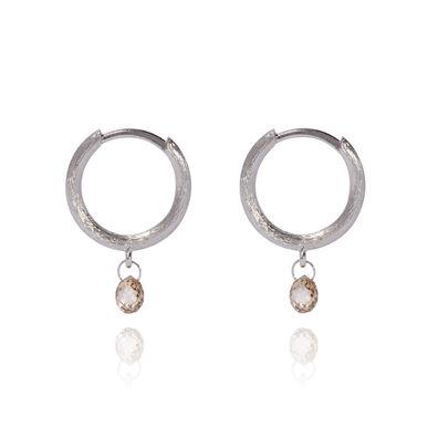 Hoopla 18ct White Gold Diamond Hoop Earrings