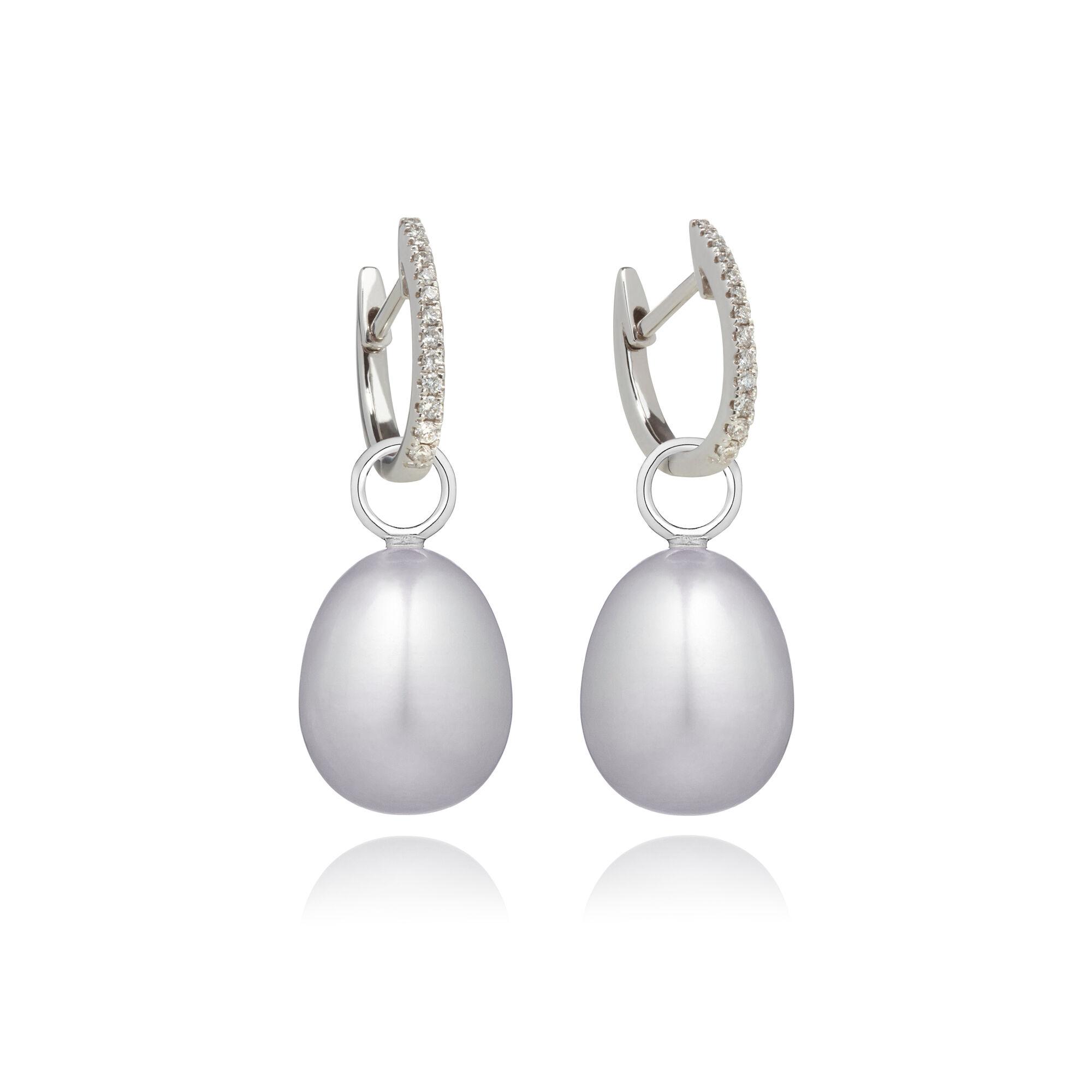 1ff544018 18ct White Gold Grey Pearl Diamond Earrings