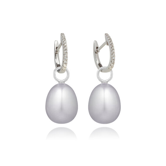 18ct White Gold Grey Pearl Diamond Earrings