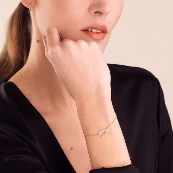 Love Diamonds 18ct Bi-Gold Diamond Wishbone Bracelet