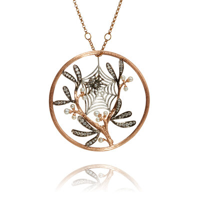 Hoopla 18ct Rose Gold Spider Web Necklace