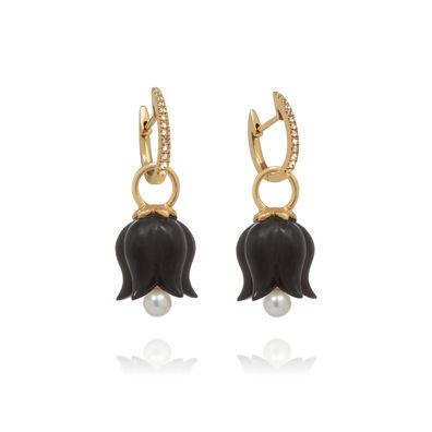 18ct Gold Ebony Pearl Tulip Earrings