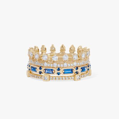 18ct Gold Blue Sapphire Crown Baguette Ring Stack