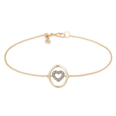 18ct Gold Diamond Heart Bracelet