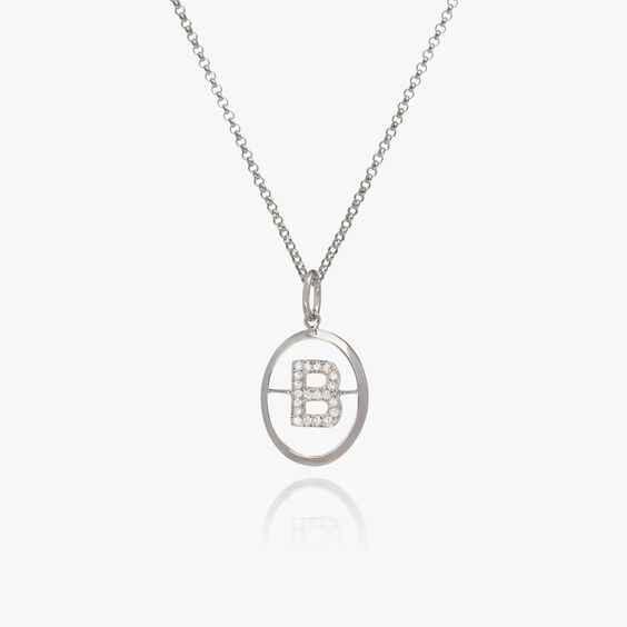 18ct White Gold Diamond Initial B Necklace | Annoushka jewelley