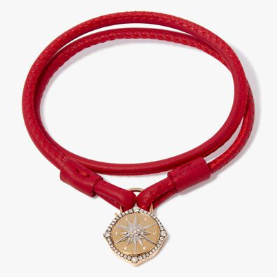 Lovelock 18ct Gold 41cms Red Leather Star Charm Bracelet